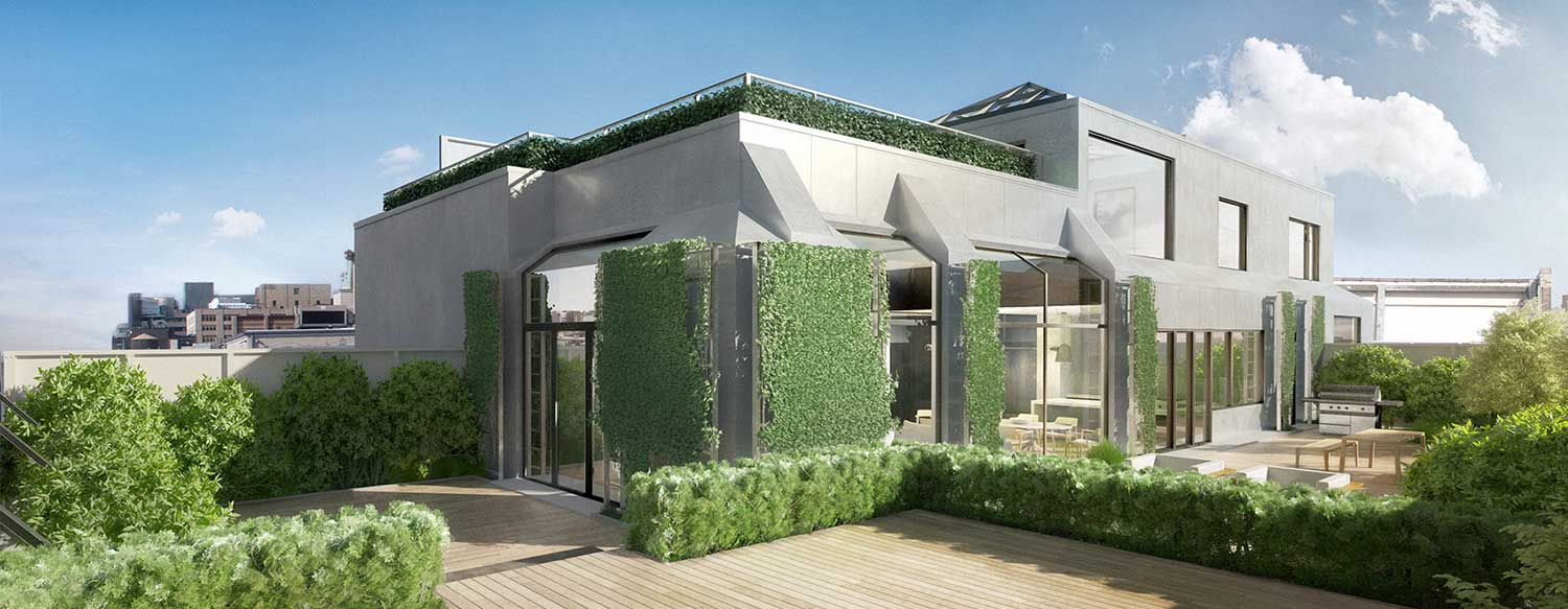 Penthouse Exterior with garden
