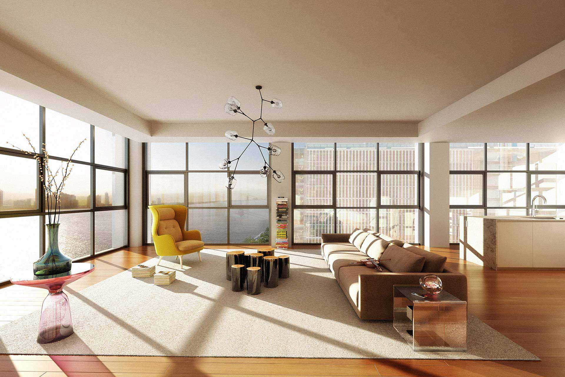 Greatroom rendering with view out Hudson River