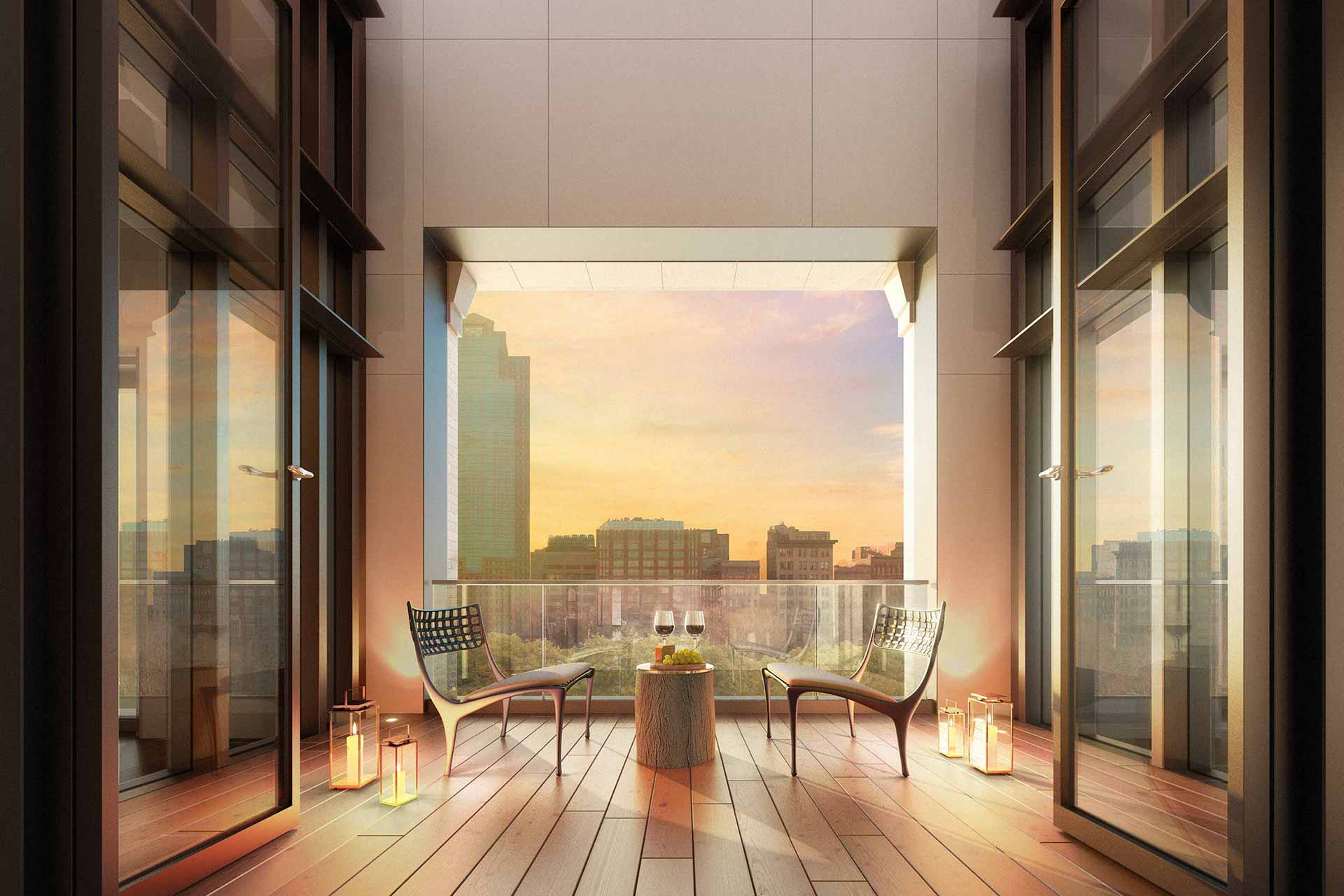 Balcony rendering in dusk
