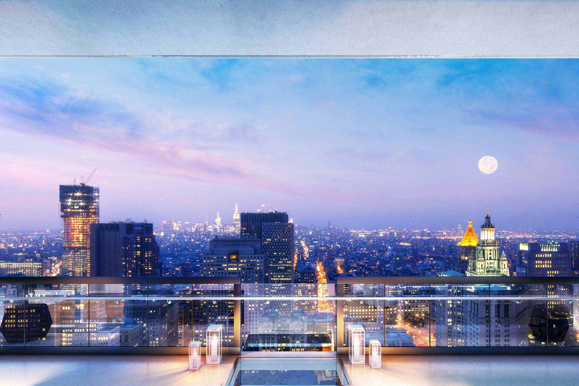 Downtown penthouse rendering with Manhattan night view