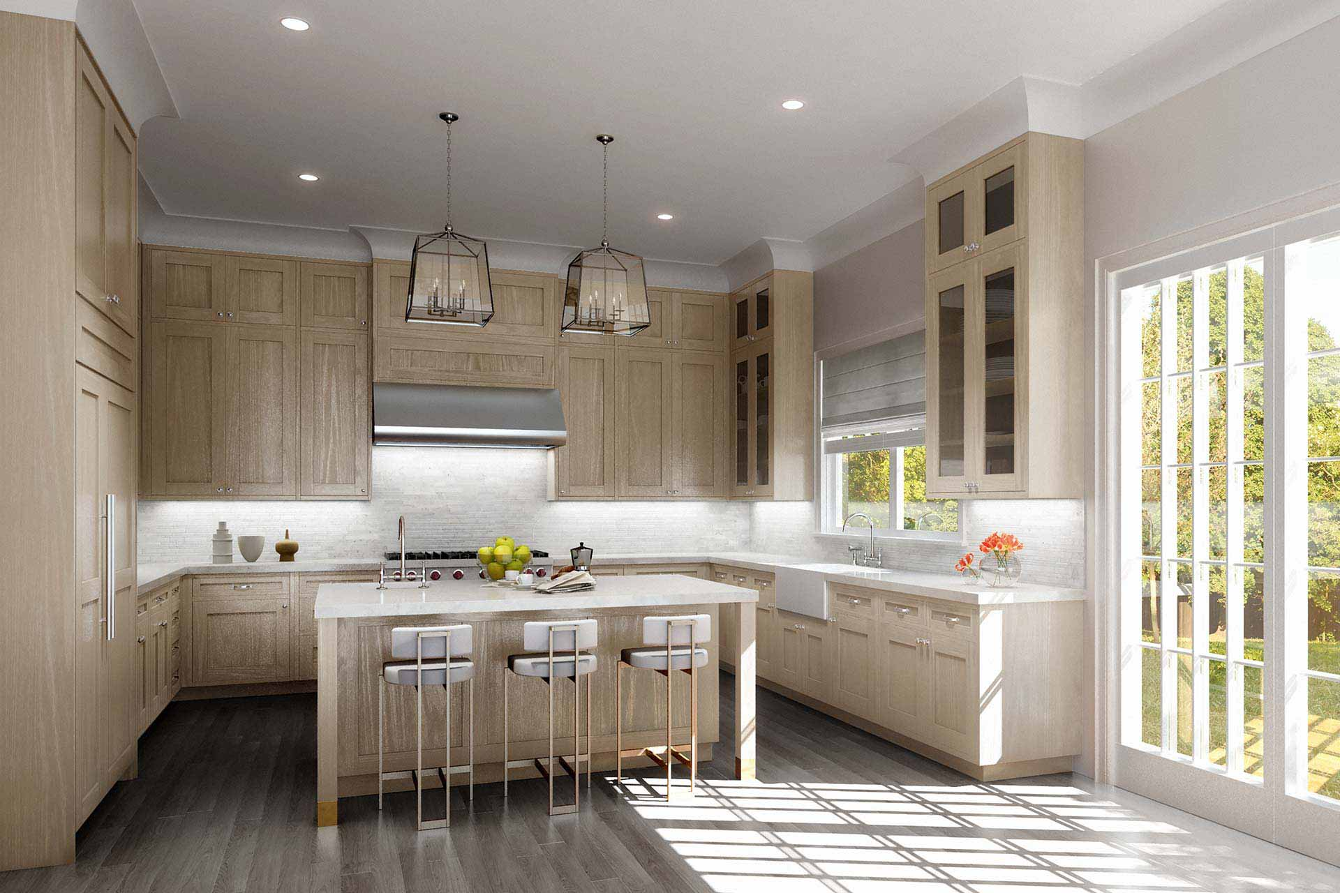 Kitchen interior rendering in Hamptons