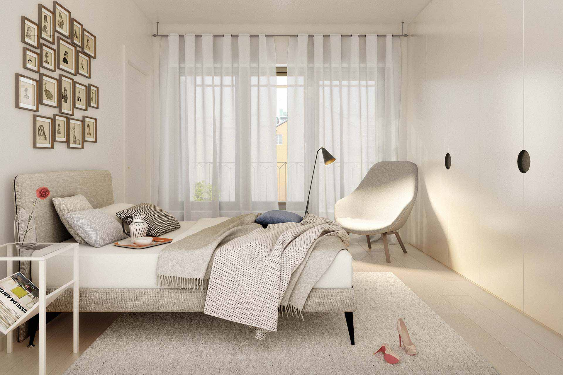 Bedroom rendering of Corner House in Stockholm Sweden