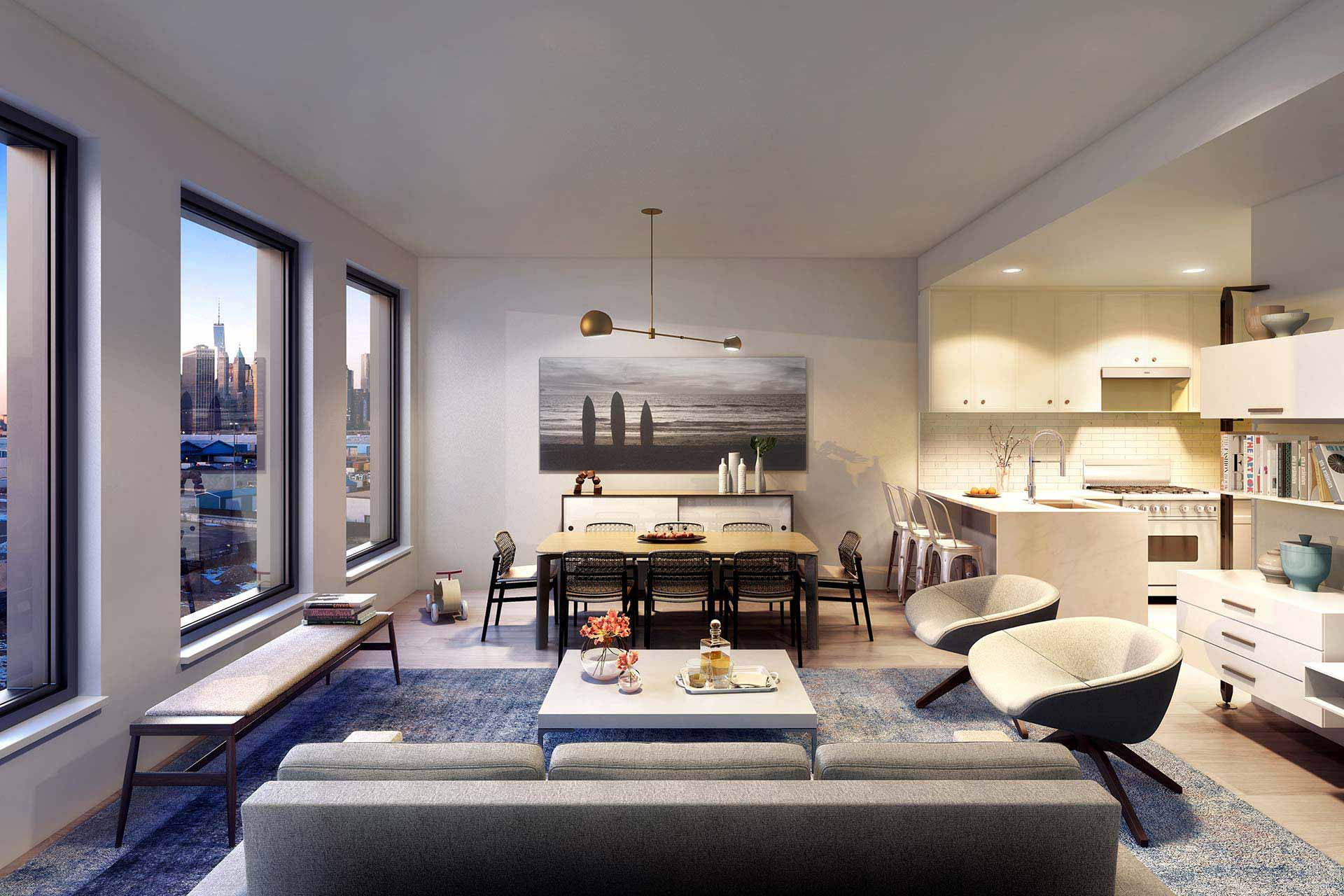 Rendering of Columbia's interior in Brooklyn waterfront