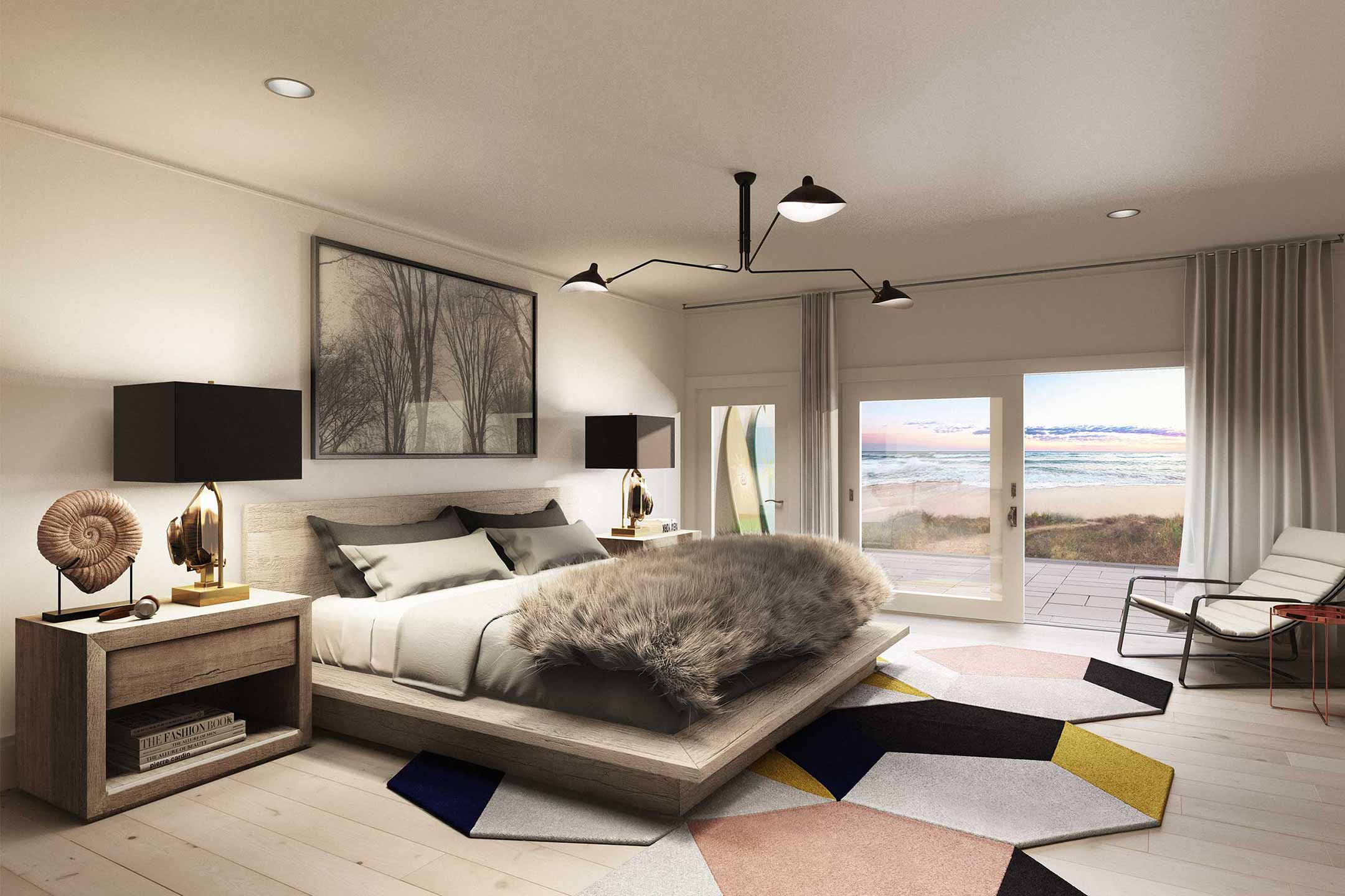 Bedroom rendering looking out to beach