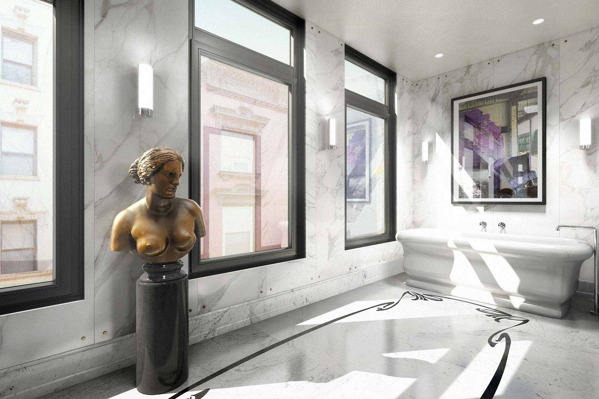 Master bathroom rendering with bronze statue