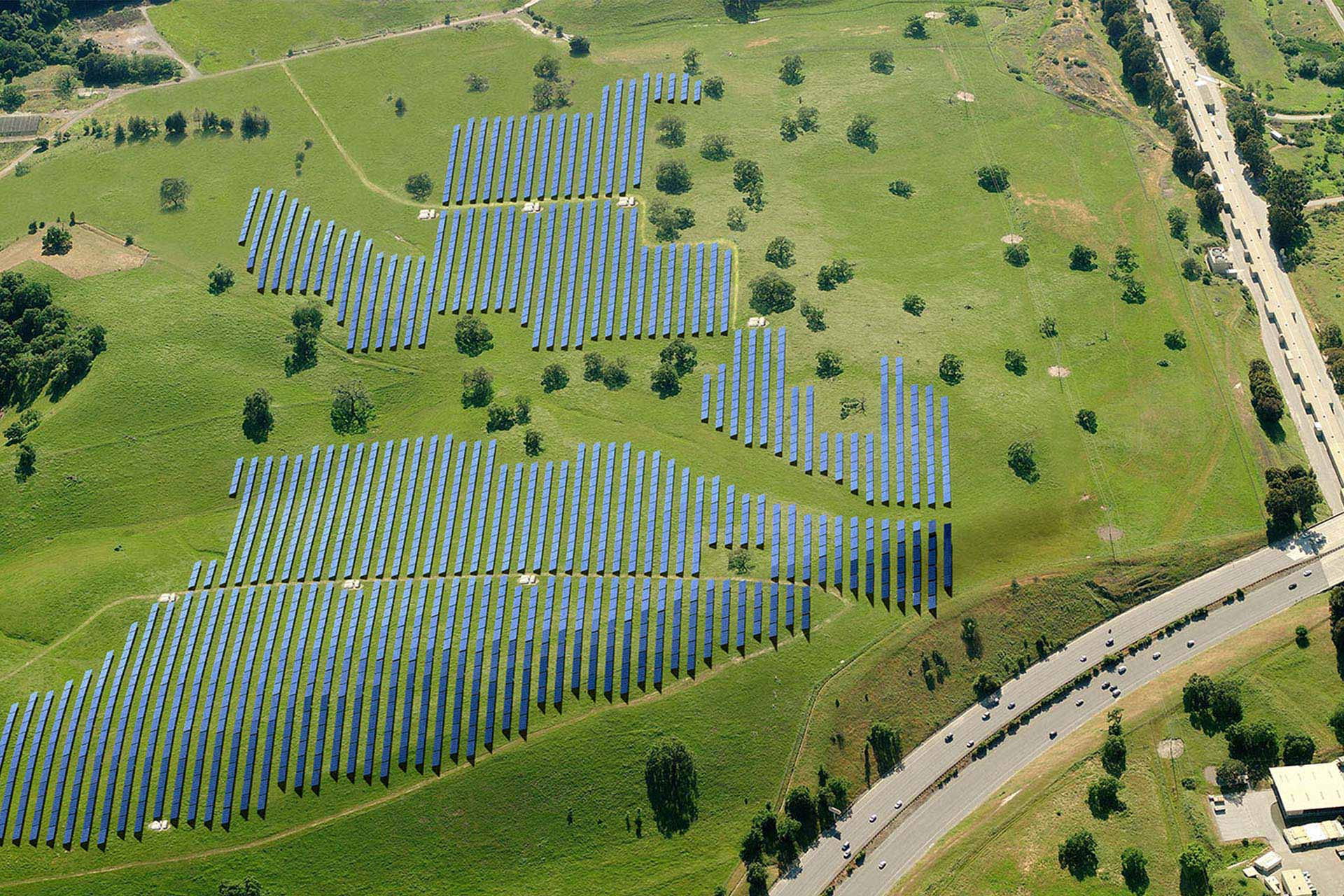 Aerial visualization of solar array layouts in California