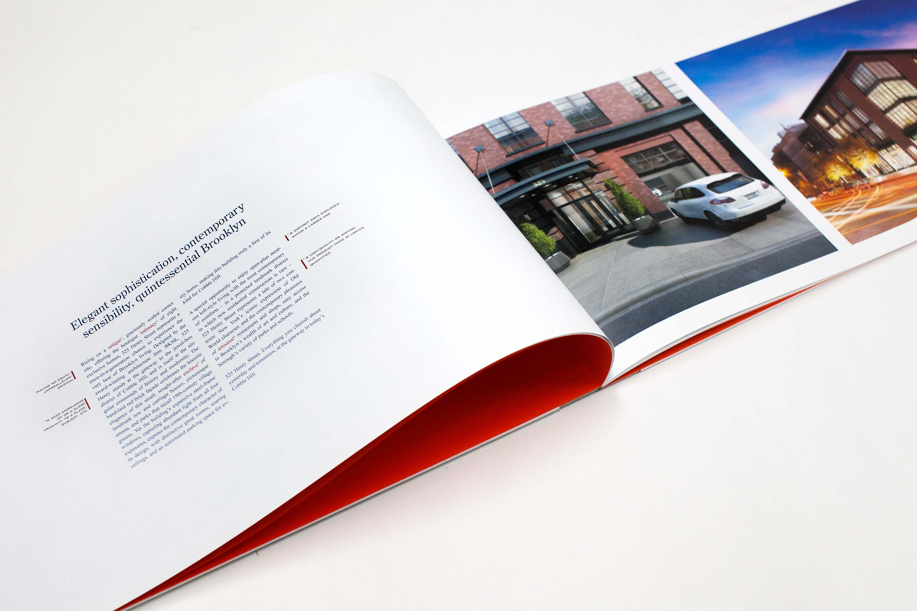brochure spread showing entrance render