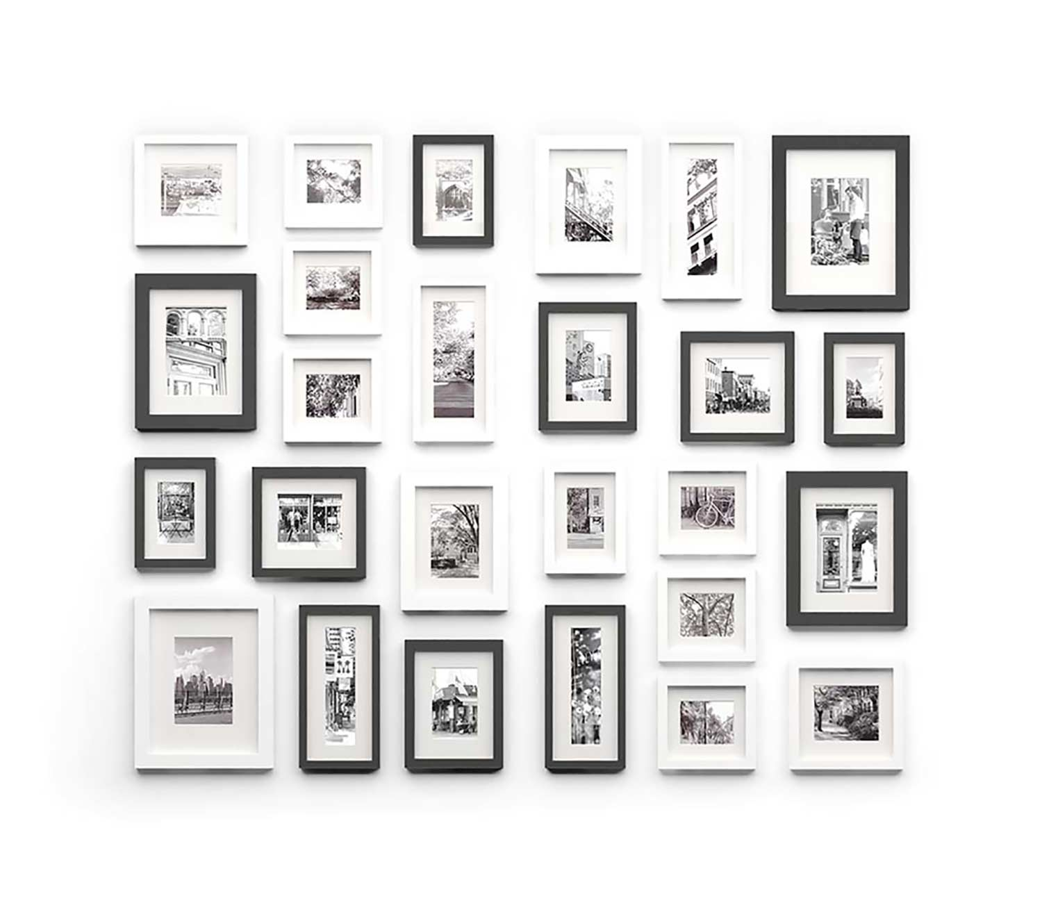 illustration of framed photos on wall