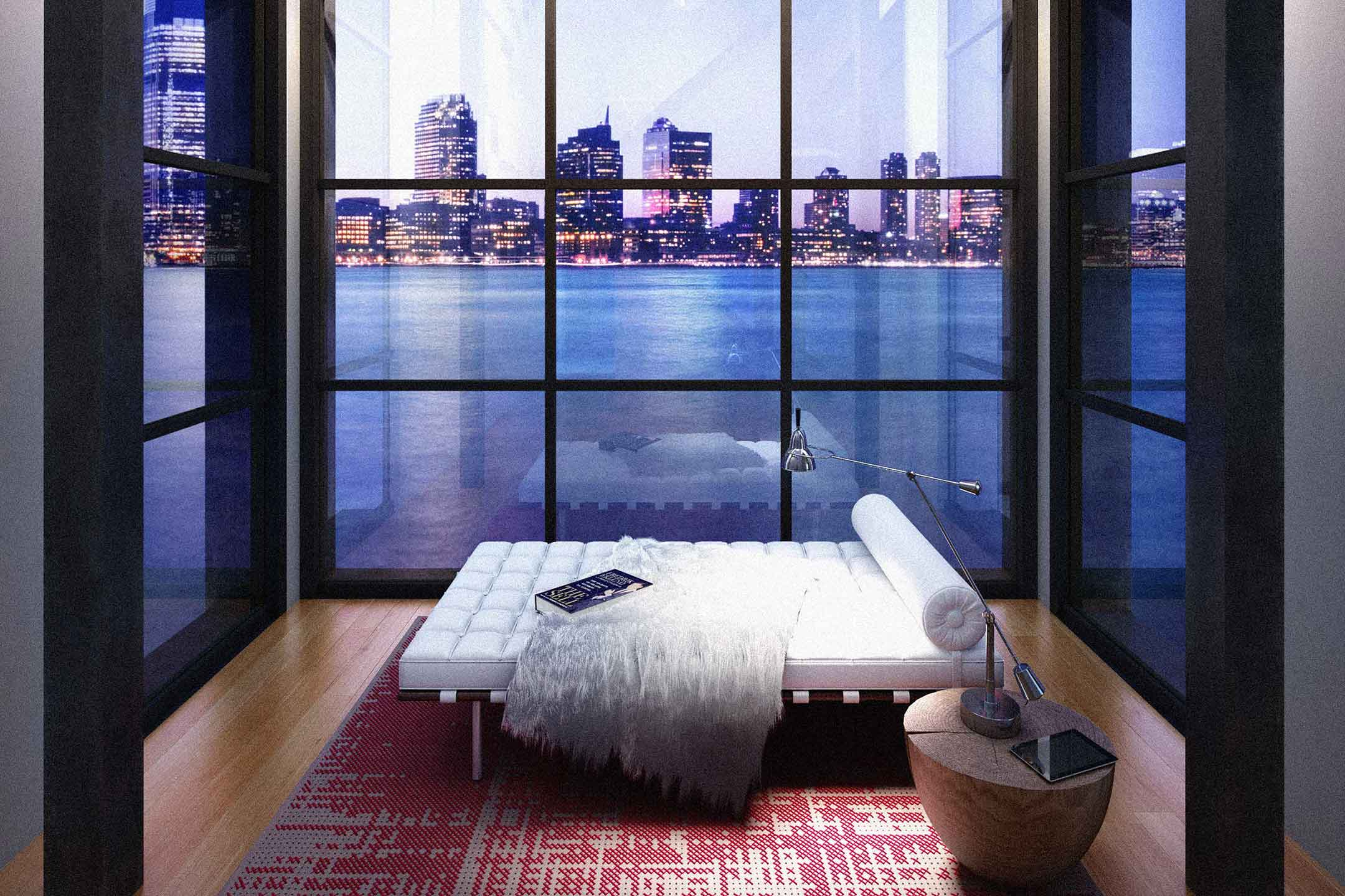Rendering of study room with water view of New Jersey