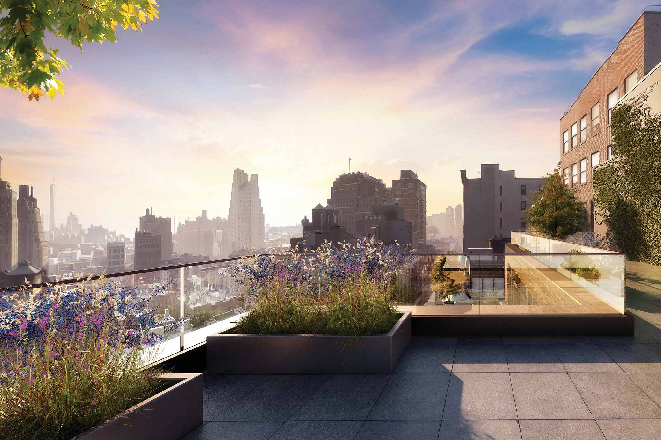 Rendering of Chelsea roof terrace with view of downtown Manhattan