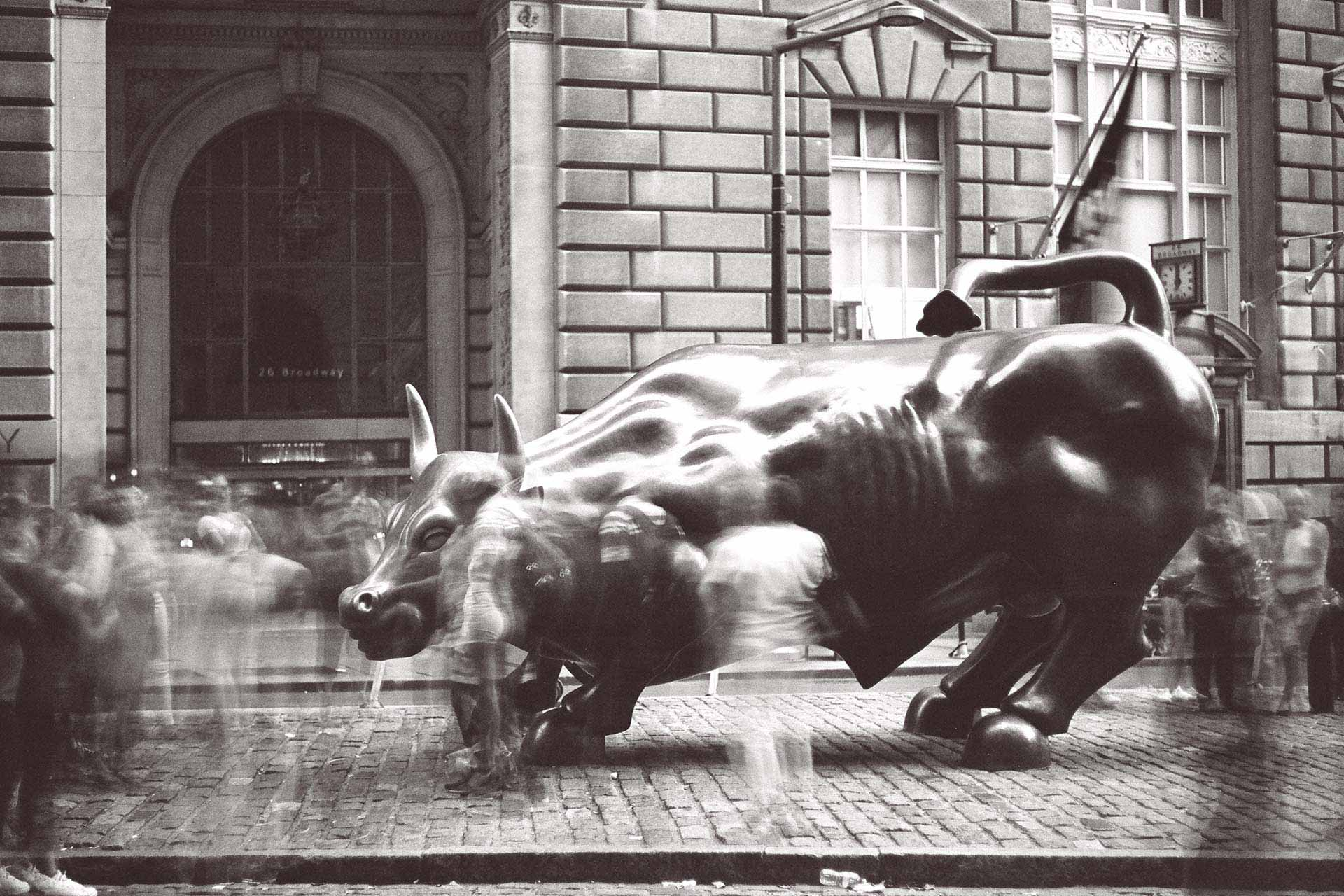 Photo of Wall St bull, long exposure