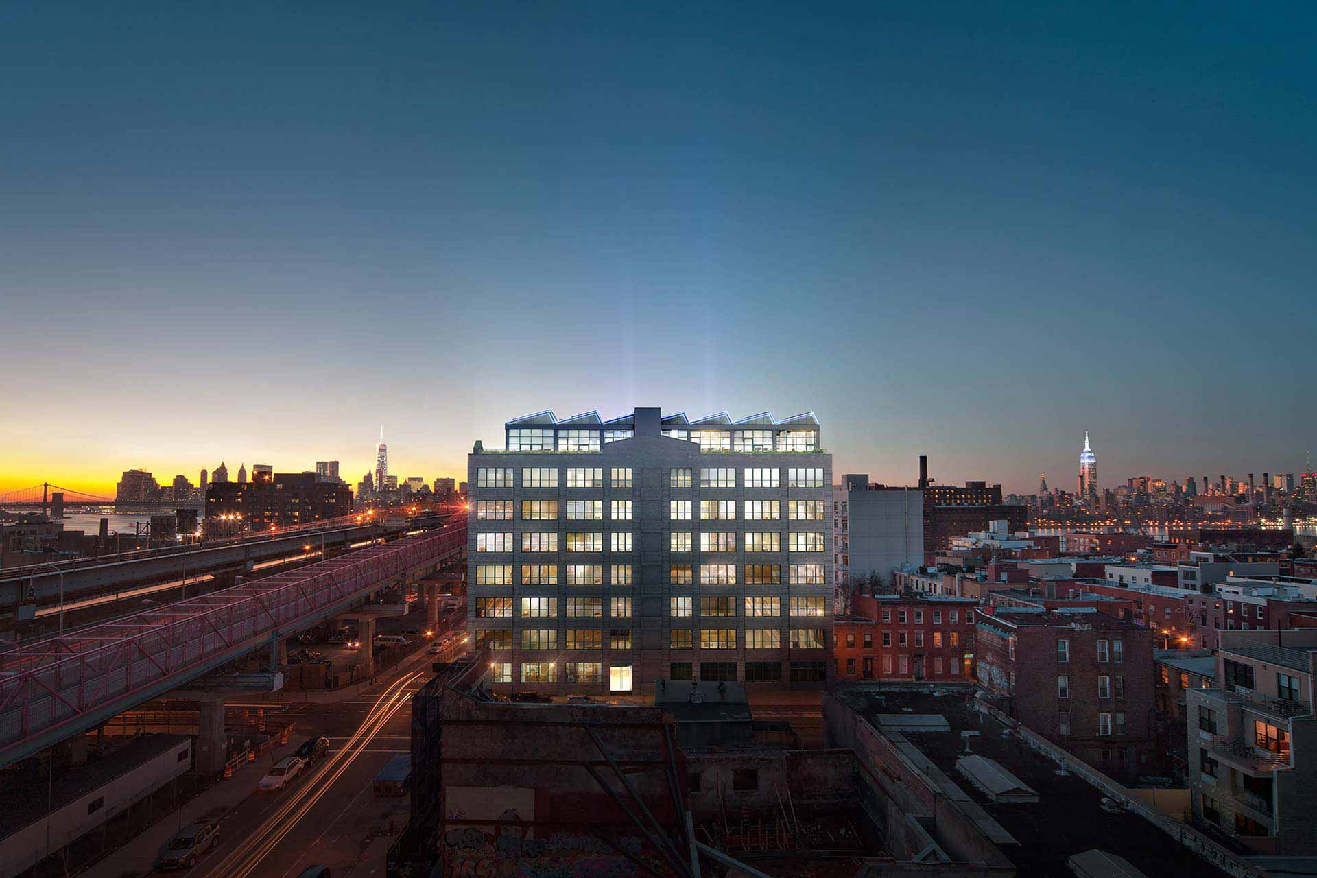 Dusk rendering of building in Williamsburg